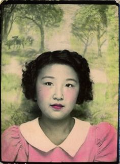 ** Vintage Photo Booth Picture **   Young Asian girl