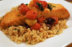 Salmon with Tomato Confit and Couscous   Striped Spatula