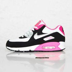 the latest 21052 947e9 Chaussures Nike Officiel Pas Cher Pour Femme Nike Air Max 90 Blanc - Noir -  Rose
