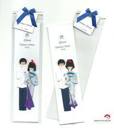 Marcador de páginas Casal em origami - Lembrança de nascimento do Afonso <3