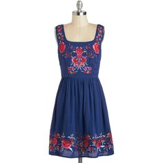Boho Mid-length Tank top (2 thick straps) A-line Judy Blue Skies Dress ($55) ❤ liked on Polyvore