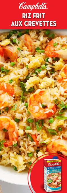 Shrimp Fried Rice Cooking rice in broth is a simple way to infuse maximum flavour into this simple dish. Seafood Casserole Recipes, Seafood Recipes, Cooking Recipes, Fried Shrimp Recipes, Cooking Rice, Seafood Appetizers, Seafood Dinner, Seafood Salad, Campbells Soup Recipes