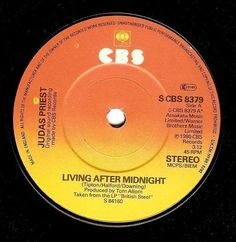 JUDAS PRIEST Living After Midnight Vinyl Record 7 Inch S CBS 8379 1980 EX