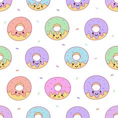 Kawaii Cute Pastel Donuts Sweet Summer Desserts With Funny Faces Cartoon Seamless Pattern Donut Cartoon, Cartoon Art, Donut Background, Donut Drawing, Donut Vector, Cute Donuts, Dress Design Sketches, Bottle Cap Images, Pattern Illustration