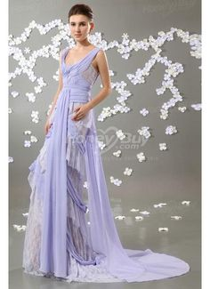 Lavender Straps Chiffon Tulle Sweep Train Best Prom Dress