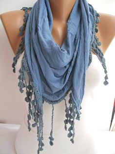 Blue Elegance Shawl/Scarf with Lacy Edge by DIDUCI on Etsy, $19.00