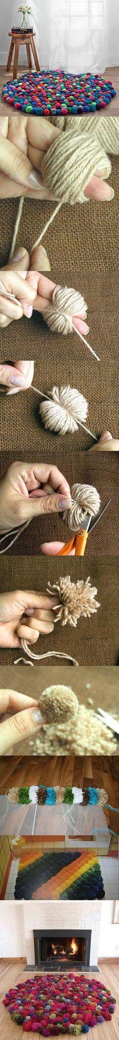 Diy Beautiful Carpet | DIY & Crafts web Tutorials Alfombras de pompones