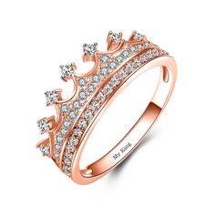 8cdbf0113 Rose Gold Plated Sterling Silver Cubic Zirconia Princess Ring For Women  Cute Rings, Pretty Rings