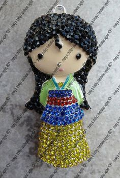 Original Design Japanese Princess Rhinestone Pendant -  52mm x 25mm - Colored enamel on silver metal with multi colored dress