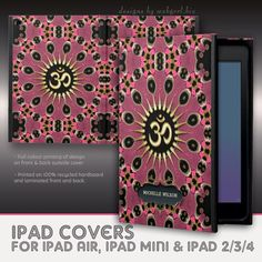 Yoga OM Pink Psy Peacock Mandala Custom Name iPad Cover : design/art by webgrrl