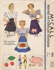 1930s McCall 506 Set of Aprons Applique Transfer by patternshop, $74.99