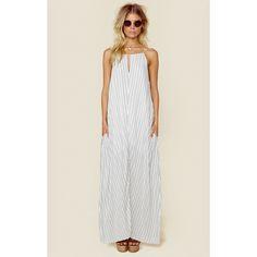 Indah Miro Cinch Neck Maxi Dress ($154) ❤ liked on Polyvore featuring dresses, beach dress, long dress, maxi dress, tassel dress, tassle dress, beach dresses, indah dress and tie dress