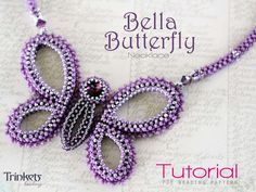 Beading pattern for necklace 'Bella Butterfly' - beaded butterfly in CRAW stitch.
