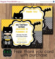 Bat Boy Invite with FREE matching thank you card.  Personalized to match your party.  Optional back design add on.  DIGITAL DOWNLOAD, FAST DELIVERY.    Batman, Batman Party, Batman Invitation, Superhero Invite, Superhero Birthday Party, Superhero Invitation