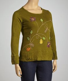 Take a look at this Green Floral Pleated Top - Plus by Rising International on Zulily  Size 4xL