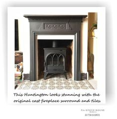 The Stove House has supplied and fitted a traditional cast iron Stovax Huntingto. : The Stove House has supplied and fitted a traditional cast iron Stovax Huntington stove into an original Victorian fireplace. More info. Log Burner Fireplace, Fireplace Tile Surround, Dining Room Fireplace, Cast Iron Fireplace, Home Fireplace, Fireplace Inserts, Wood Burner, Fireplace Surrounds, Fireplace Design