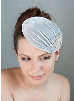 Millinery Velvet Hat, Bridal Hat, Cocktail Hat, Grey Silk Velvet Headpiece with rhinestone