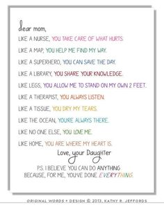 Personalized Letter To Mom Or Mum Typographic Print. Sentimental Mother's Day or Birthday Gift. Sweet Poem For Mom. I Love You Mom Art. by thedreamygiraffe on Etsy https://www.etsy.com/listing/130956796/personalized-letter-to-mom-or-mum