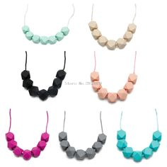 1Pc Chain Baby Teething Necklace Teether Cute Charm BPA-Free Beads Polygon Silicone -B116 #Affiliate