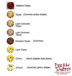 Swarovski vintage colors yellows and browns: Madeira topaz, topaz, light Colorado topaz, light smoke topaz, smoky topaz, light topaz, citrine, jonquil.