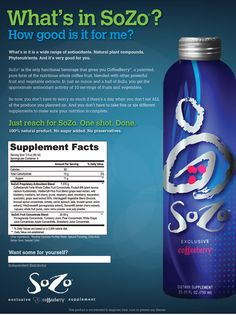 Drink To Your Health...SoZo Nutritional Beverage powered by CoffeeBerry delivers the highest anti-oxidant levels ever recorded - in the world!