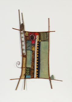 21x26 in.; found and new textiles, tree branches, copper, ceramic, stone, paper, copper wire, guitar string, painted canvas