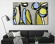 "Vibrant Colorful Abstract-0-28. Mid-Century Modern Green Canvas Art Print, Mid Century Modern Canvas Art Print up to 72"" by Irena Orlov"