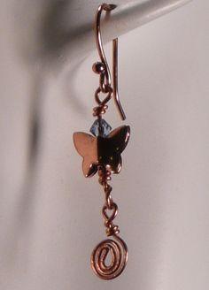 Copper Butterfly Earrings with Swarovski by sharronwesteren, $12.00