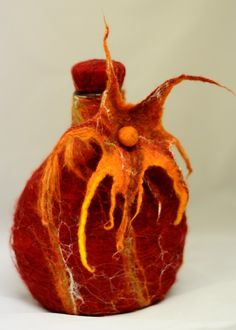 Wet Felted Glass Decanter in Terracotta Oranges, Wool and Silk on glass
