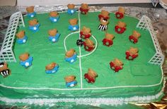 Teddy Graham Soccer Cake!  Referees and all!! Easy to make and the kids loved it!!