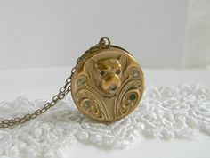 Antique Victorian Dog Locket Necklace Large Gold by LuvLockets
