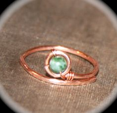Copper Ring with Green Tree Agate, Stacker Ring, Midi Rings, Stone Thin Ring, Ring Handmade Knuckle Silver Gold Thin Ring Stacking Ring by BirchBarkDesign on Etsy