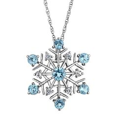 Sterling Silver Swiss Blue Topaz and White Sapphire Snowflake Pendant Necklace | eBay
