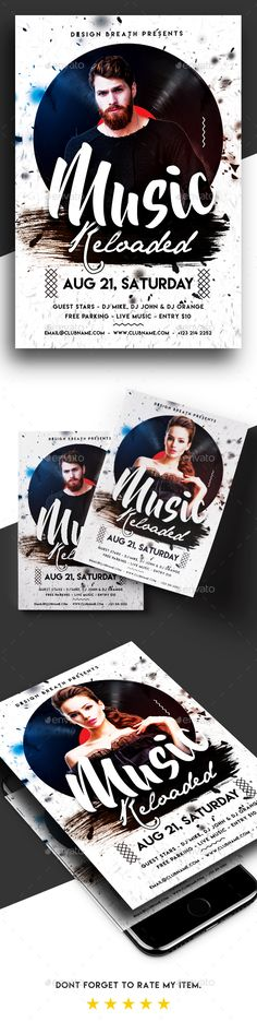 Music Reloaded Party Flyer — Photoshop PSD #flyer #reloaded • Available here → https://graphicriver.net/item/music-reloaded-party-flyer/19740506?ref=pxcr