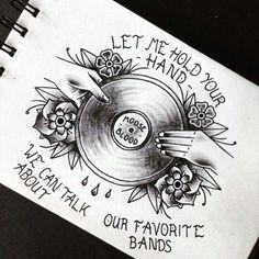 Moose Blood- Swim Down Hand Tattoos, Cool Tattoos, Tatoos, Music Tattoos, Record Player Tattoo, Moose Blood, Punk Tattoo, Piercing Tattoo, Future Tattoos