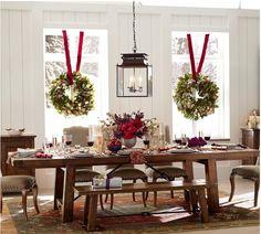 Wreaths , holiday dining room , fabulous lantern .