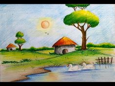 how to draw easy scenery with duck Scenery Paintings, Oil Pastel Paintings, Oil Pastel Drawings, Oil Pastel Art, Colorful Drawings, Horse Paintings, Scenery Drawing For Kids, Art Drawings For Kids, Easy Drawings