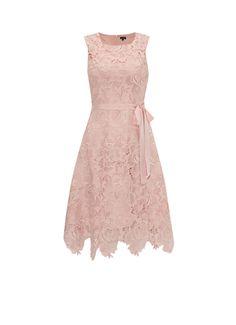 Phase Eight Rose kanten jurk met ceintuur in lichtroze • de Bijenkorf