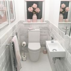 I can not believe the response this little room has had! 🌸 It totally gets over looked and we rarely use it so it's nice that it can be… is part of Toilet room - Small Downstairs Toilet, Small Toilet Room, Downstairs Cloakroom, Small Bathroom, Bathroom Gray, Bathroom Ideas, Bathroom Vanities, Target Bathroom, Cloakroom Ideas