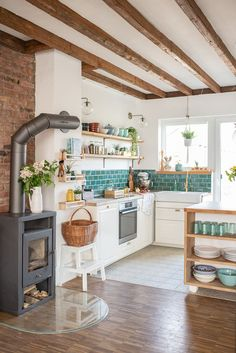After the renovation - pictures from the new kitchen - Leelah L .- Nach der Renovierung – Bilder aus der neuen Küche – Leelah Loves Kitchen makeover with base units from Ikea, vintage shelves, self-made tiles in boho look and DIY decoration ideas - Boho Kitchen, Home Decor Kitchen, Kitchen Interior, New Kitchen, Home Kitchens, Kitchen Ideas, Kitchen Furniture, Eclectic Kitchen, Kitchen Inspiration