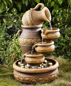 Unusual water fountain in the garden