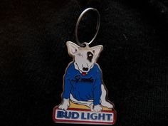 Spuds Mackenzie Bud Light Dog Vintage 1980's beer Keychain Key chain ring Metal by Morethebuckles on Etsy