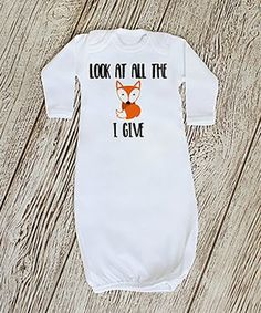 White 'Look at All the Fox I Give' Gown - Infant