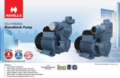 Havells self-priming monoblock pump with brass inserts and inbuilt thermal overload relay, available in 0.5HP and 1HP Features: Low Power Consumption Wide voltage operating range High suction with self-priming Motor Insulation Class F, Motor protection IP55 Brass insert on impeller housing for rust free operation In-built  thermal overload protection #havells #monoblock E Motor, Insulation, Rust Free, Brass, Pumps, Range, Choux Pastry, Cookers, Stove