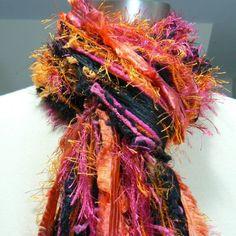 oranges scarves | Knotted Scarf, All Fringe Scarves - Flamenco - Black, Fuschia, Orange ...