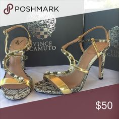 """Vince Camuto VC Signature Vero Cuoio Like New only use one time and for only 2 hours only ,very good condition.4"""" heel Sexy crisscross.Snake!!! Design.Size 9 1/2 M leather upper leather lining/sole no box Vince Camuto Shoes Heels"""