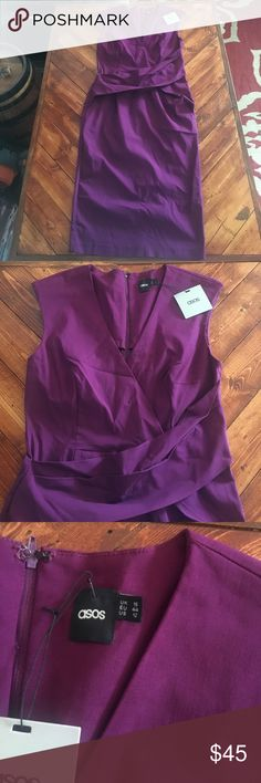 ASOS midi dress NWT beautiful purple dress reposhing due to me wearing looser dresses and this is a fitted dress 👗 beautiful on with nice sash look across the front . Loved it just too fitted for me or else I would of kept it ASOS Dresses Midi
