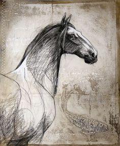 """""""Le cheval de la Joconde"""", #mixedmedia on #canvas by #artist Lea Riviere at #Galerie Saint-Dizier"""