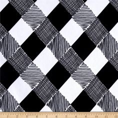 Ponte de Roma Checkers Black from @fabricdotcom  This beautiful printed ponte de roma double knit fabric has a soft hand, full bodied drape and 30% stretch across the grain. This knit is perfect for creating skirts, dresses, form fitting apparel, T shirts, jackets, tops and more! Colors include black and white.