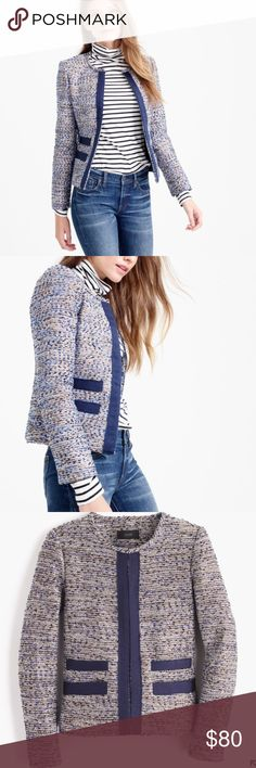 J Crew Metallic Jacket Sparkle at the office in this amazing J Crew Metallic tweed jacket with grosgrain trim. Looks great with rose gold jewelry and your favorite cobalt blue accessories (like my Milly Bag 😜). Awesome tweed fabric. Only worn a couple of times and is in excellent condition. Happy Poshing! 💗 J. Crew Jackets & Coats